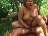 See as one BBW girl gets her hairless pussy fucked by one hard dick. She gets wildly screwed at a garden!
