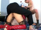 Spy one dirty chick rides by two stiff dicks. The guys penetrated her from all angles. They really love what they are working on!