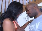 Watch one hot black chick as she sucks big dark dick. Later she is roughly fucked by it.