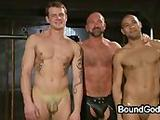 Two masked gays Trent and Leo on their all four gets their mouths fucked by huge dicks of Josh and ...